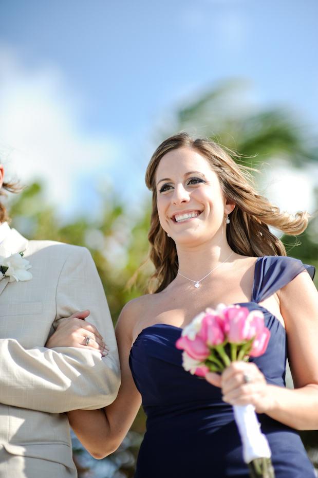 navy blue asymmetrical bridesmaid