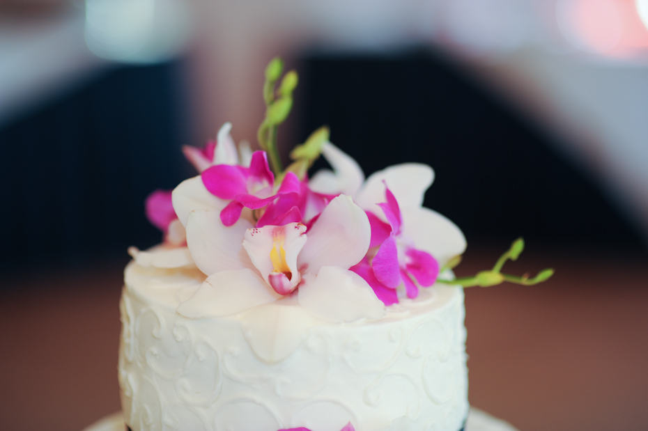 wedding cake with orchids on top