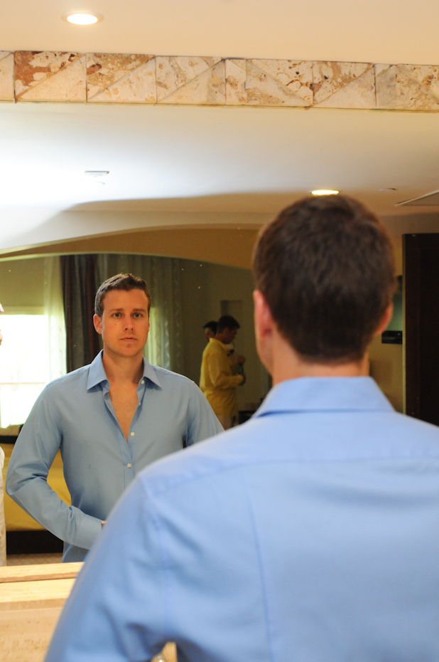groom in blue collared shirt