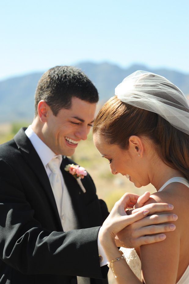 bride and groom portraits at red rock canyon