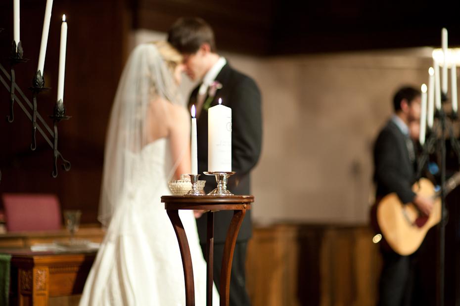 bride and groom praying