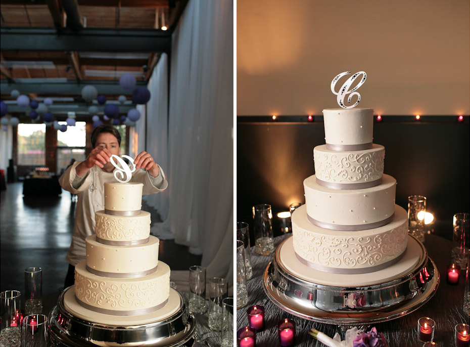 wedding cake with initial topper