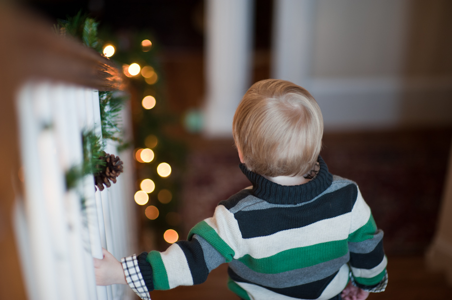 boy and Christmas tree