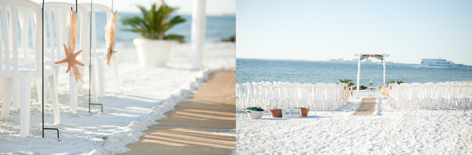 Beach wedding aisle decor