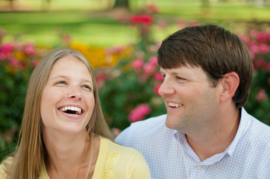 Laughing in engagement pictures