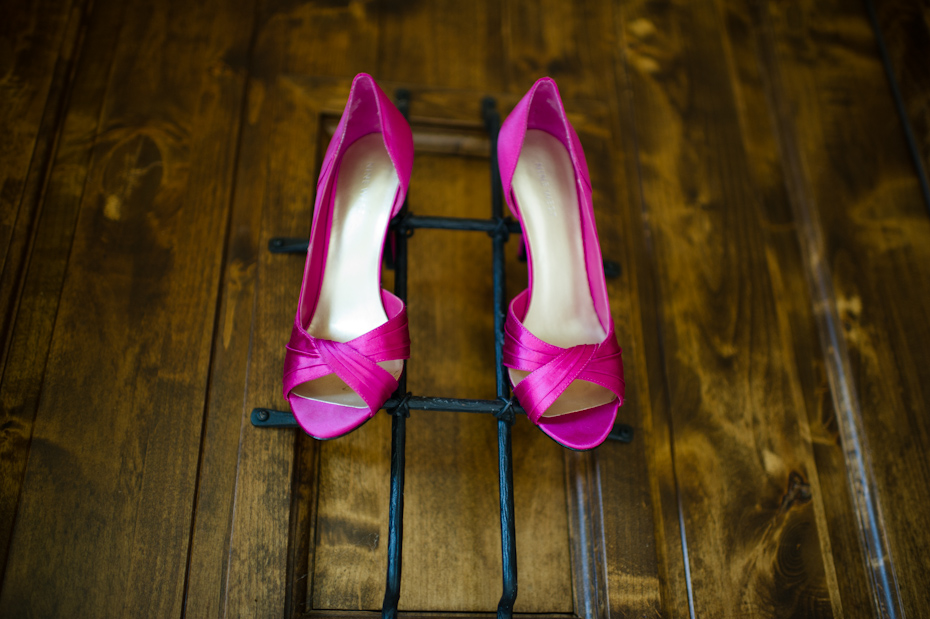 Bright colored wedding shoes