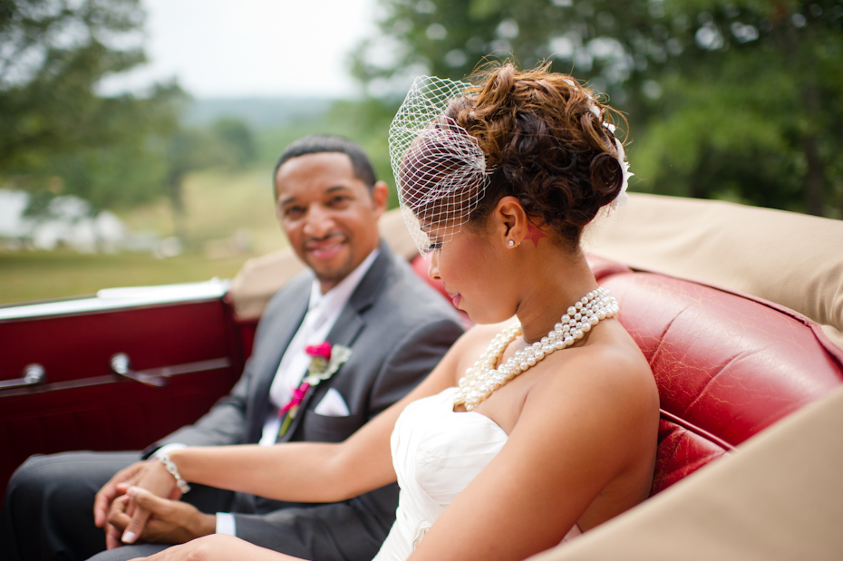 Bride and Groom in antique car
