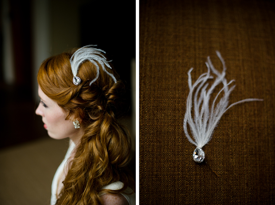 Wedding Hair Piece with Feathers