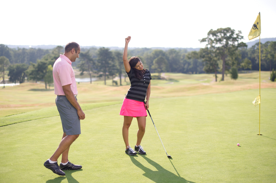 Golfing engagement pictures