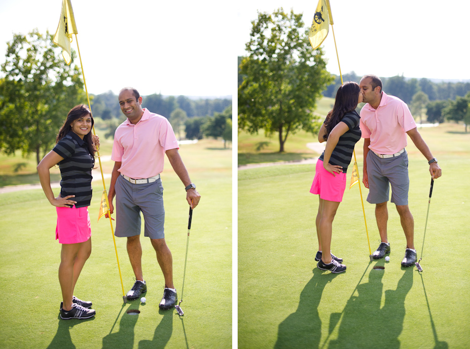Golf themed engagement pictures