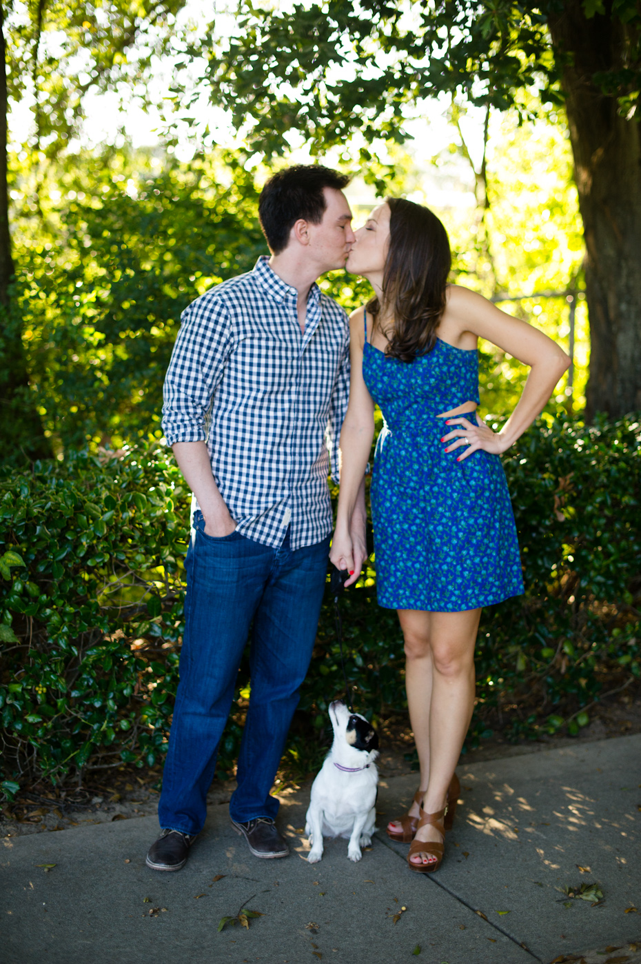Engagement picture with dog