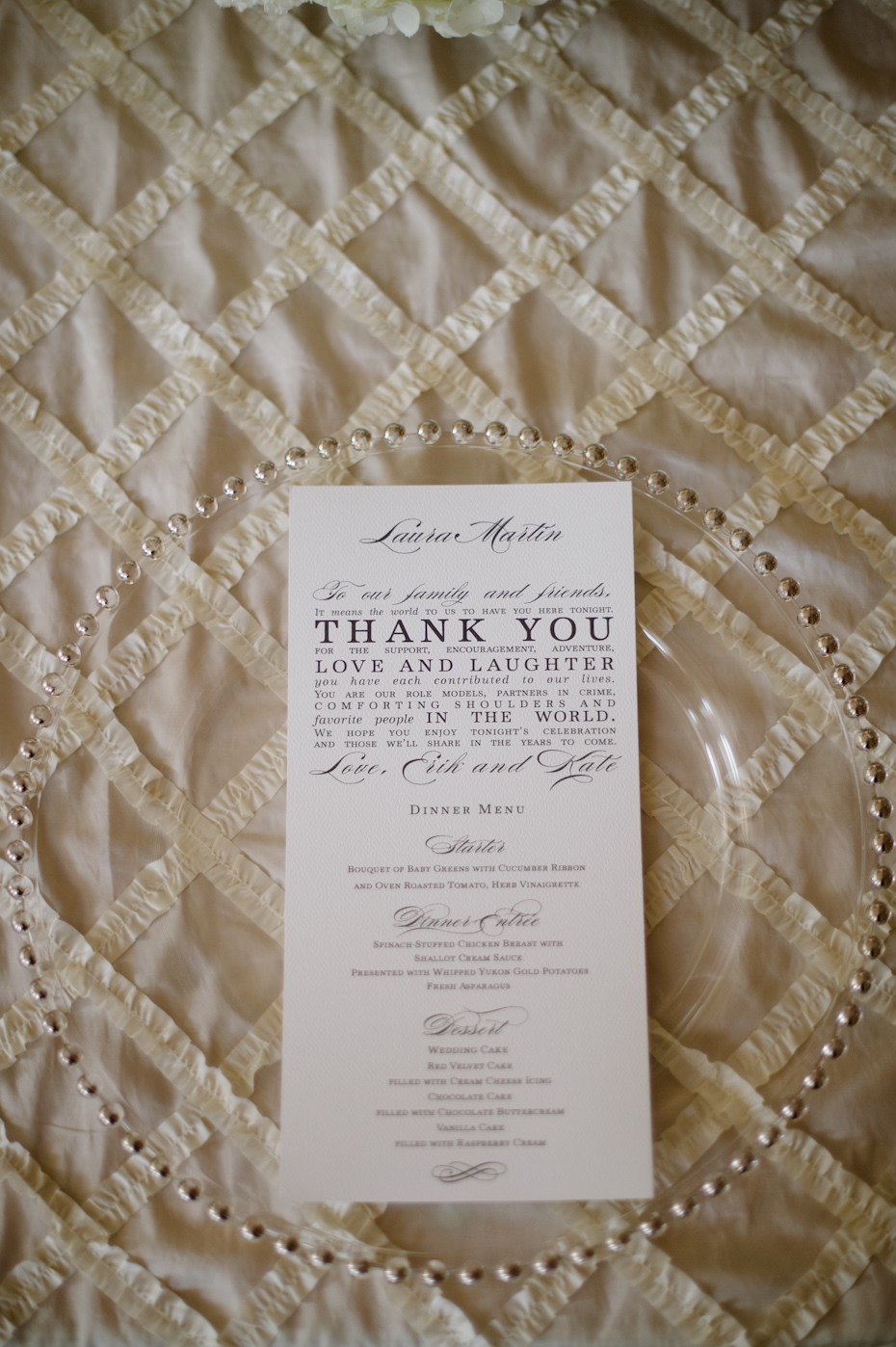 Menu Card with note to guests