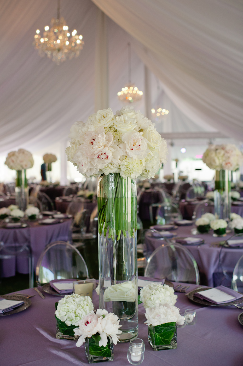 Peony Centerpieces at Wedding