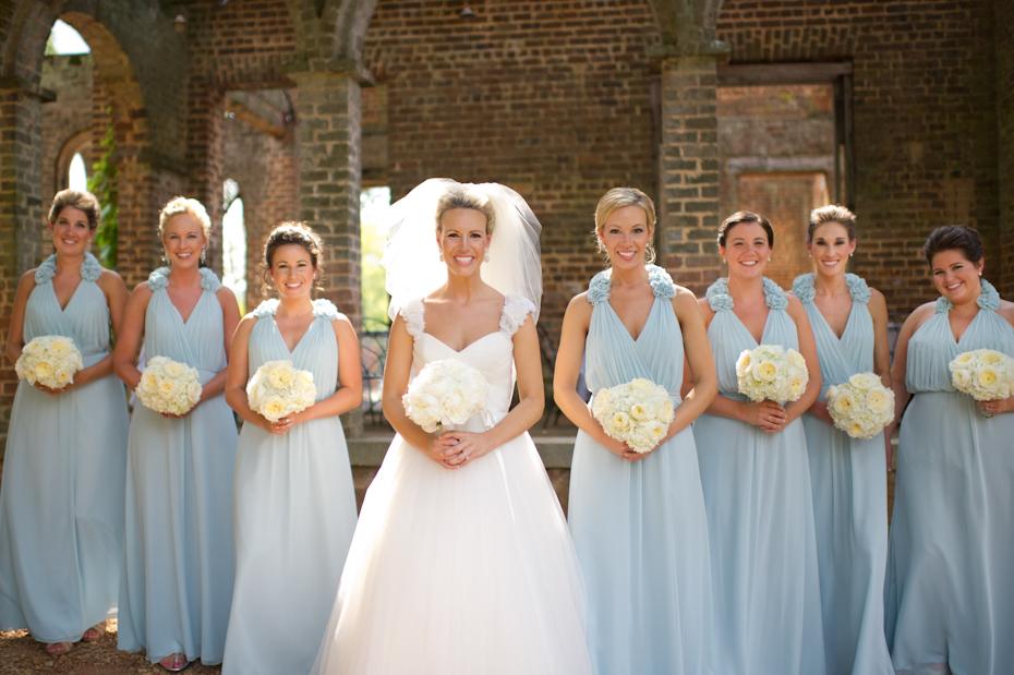Long blue Bridesmaids dress