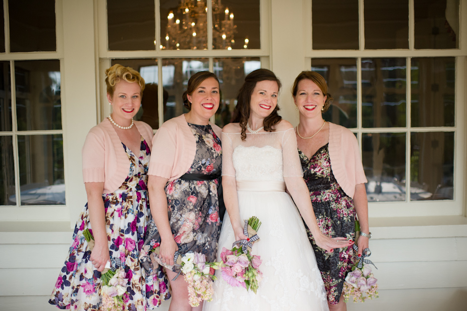 Bridesmaids wearing different dresses
