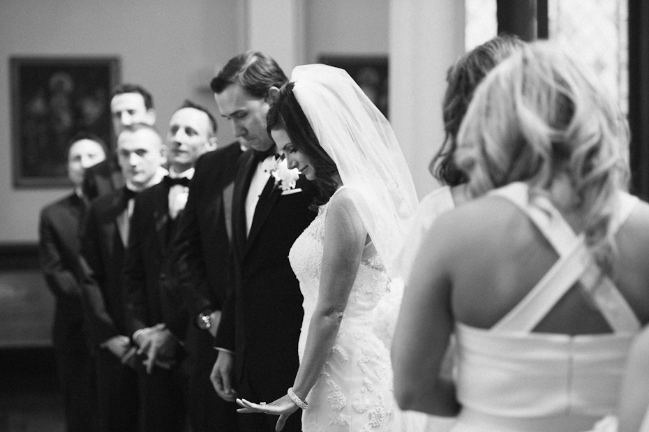 Bride looking at ring after ceremony