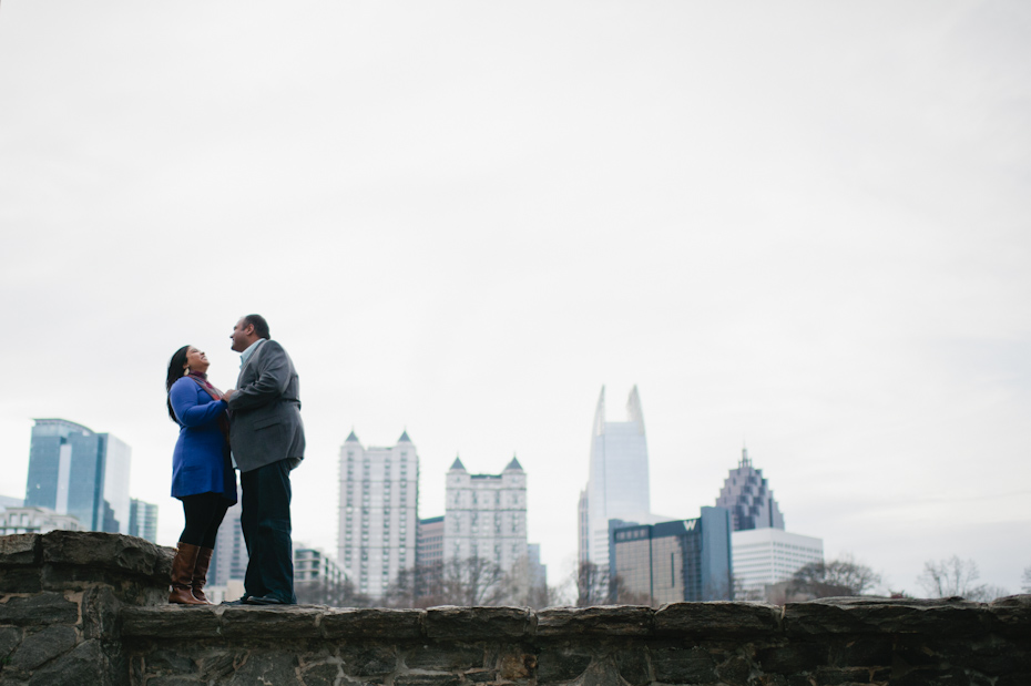 Engagement Picture at Piedmont park with skyline