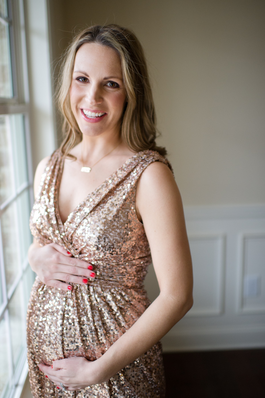 Gold Sequin Dress in Maternity Pictures