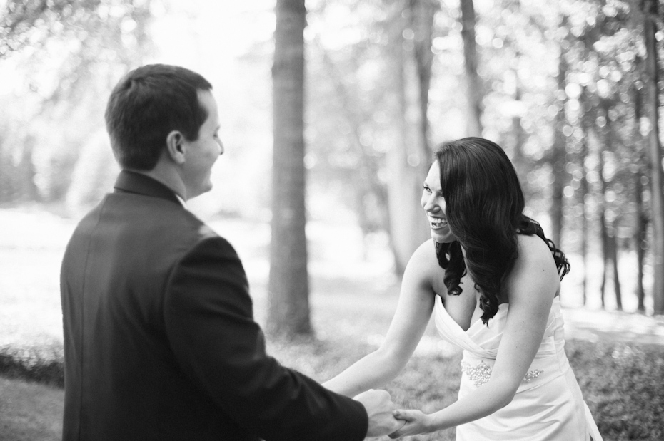 Bride and groom seeing each other for the first time on wedding day