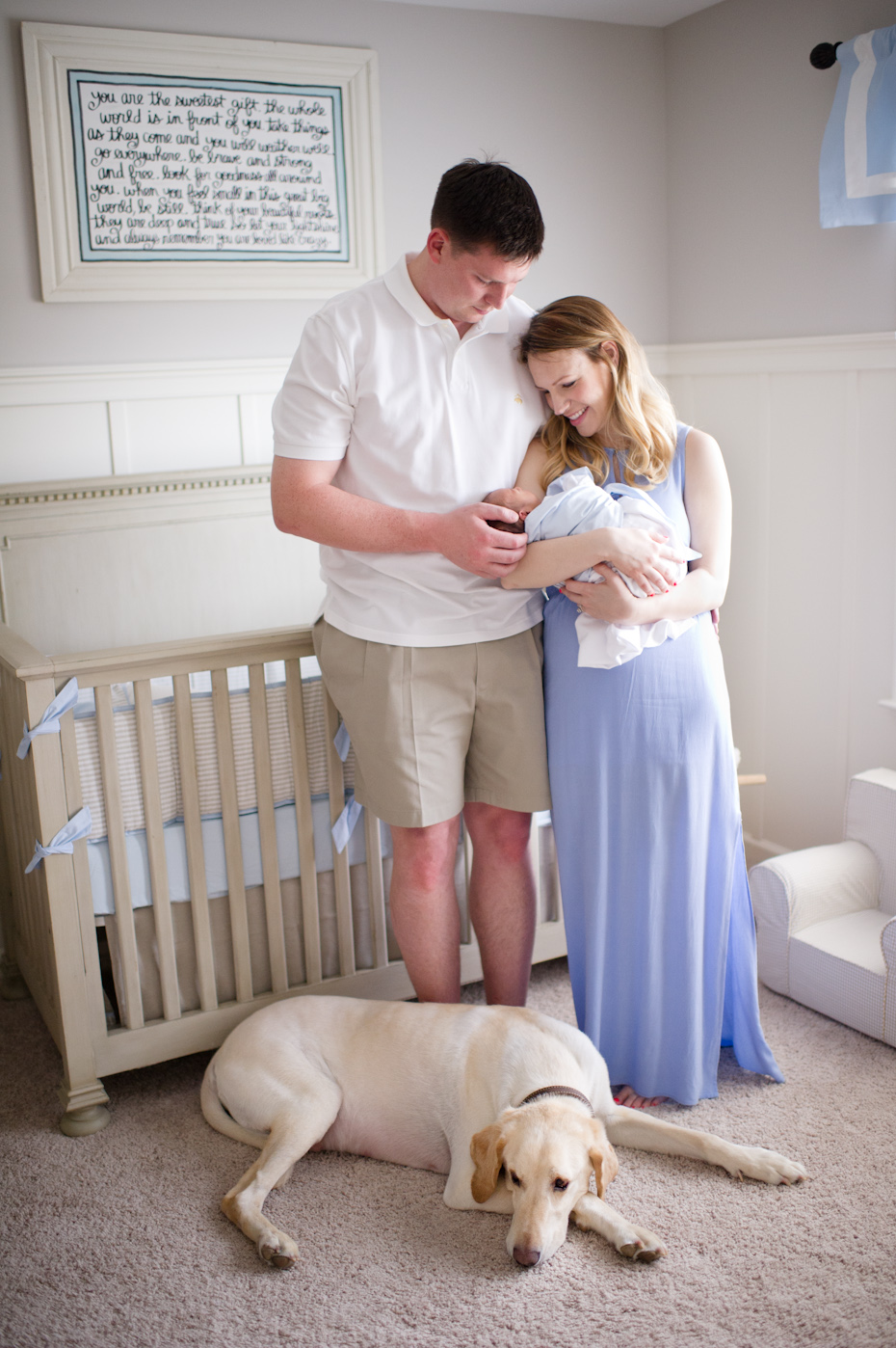 Newborn with family and dog