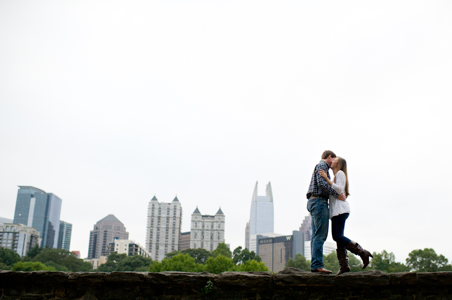 Piedmont Park Engagement photos with skyline