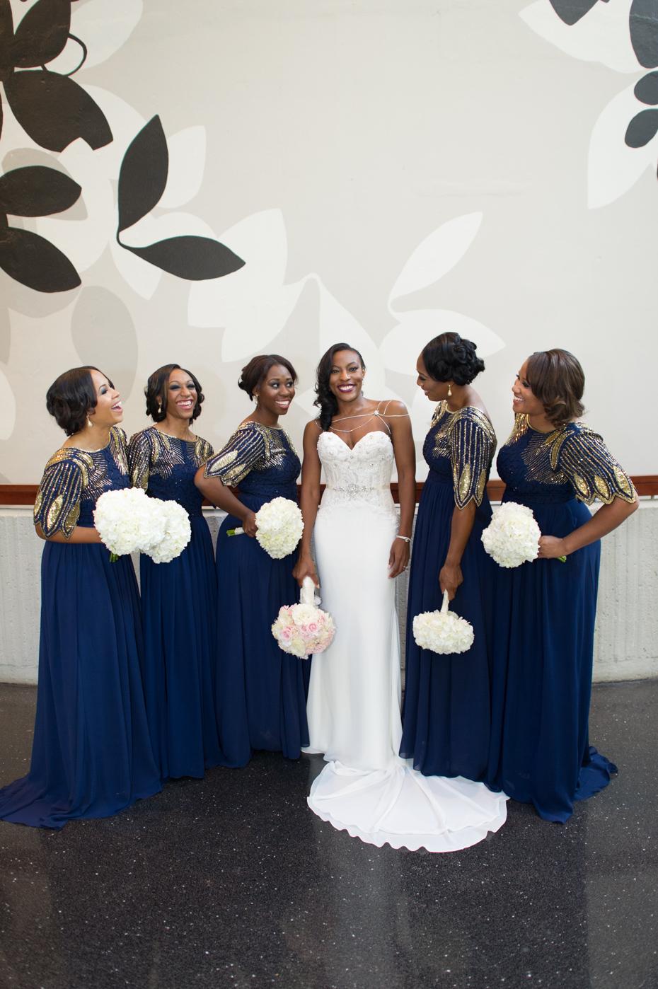 Navy and Gold Bridesmaid Dresses