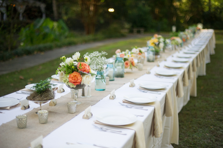 Wedding with Estate Tables in Garden
