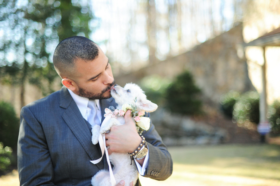 Groom and his dog at wedding