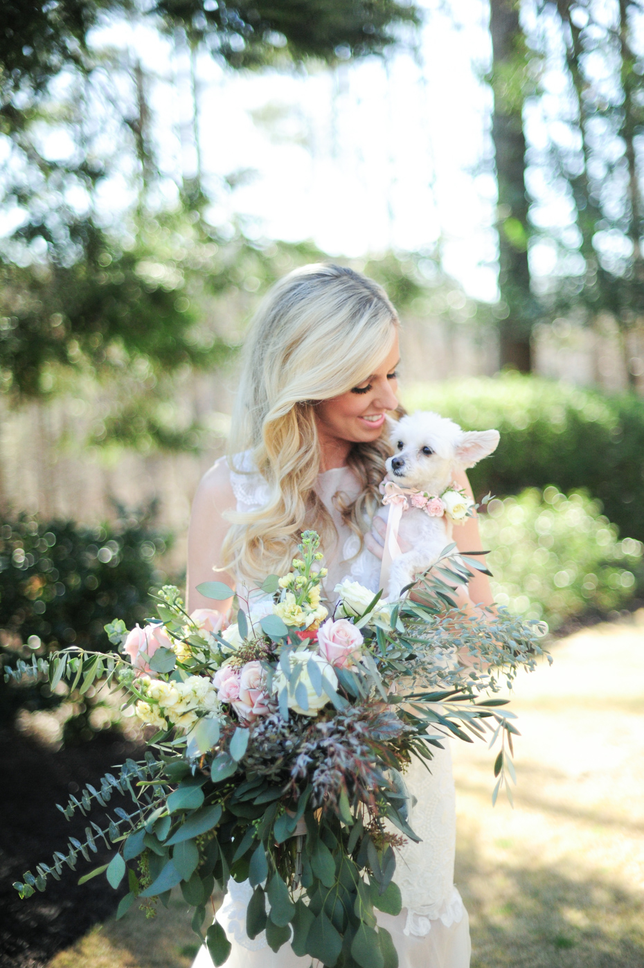 Bride and her dog at wedding