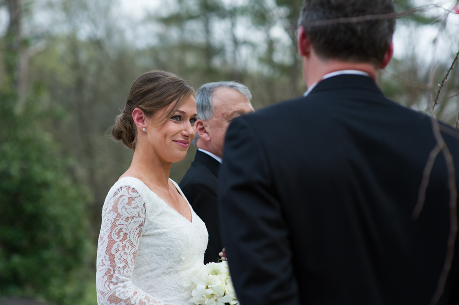 Bride seeing groom for the first time at ceremony