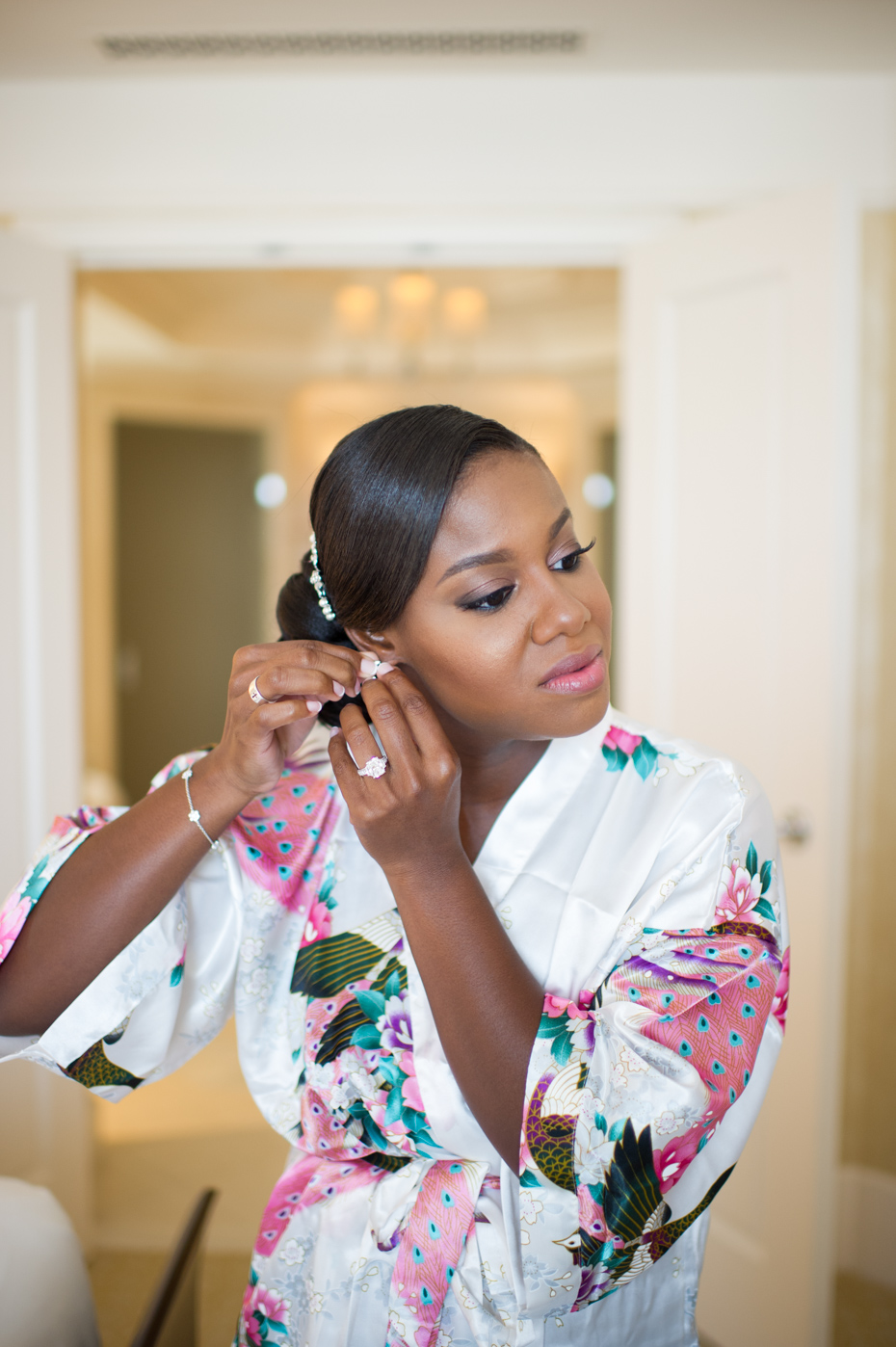 Bride Getting Ready in St. Regis Bridal Suite