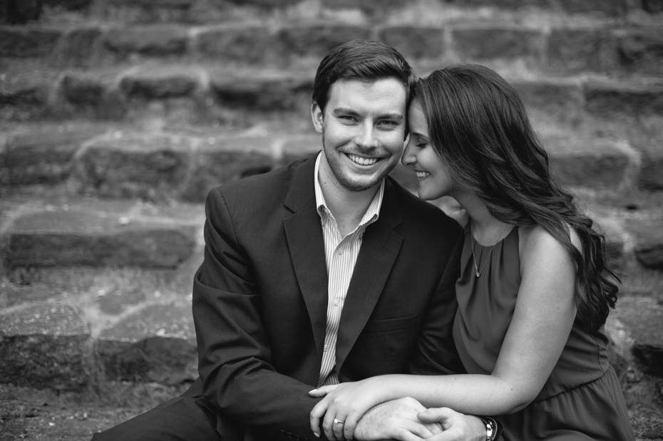 Black and white engagement photos in Atlanta