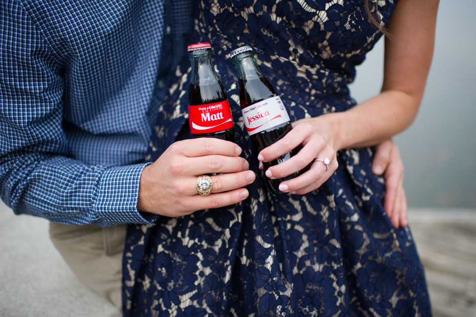 Personalized Coke bottles in engagement photos