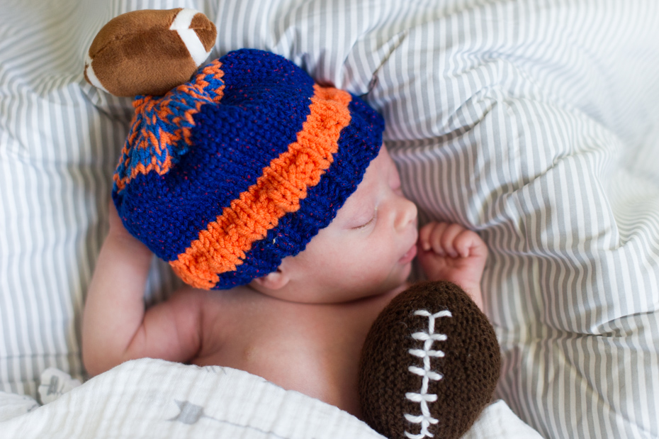Newborn pictures with football